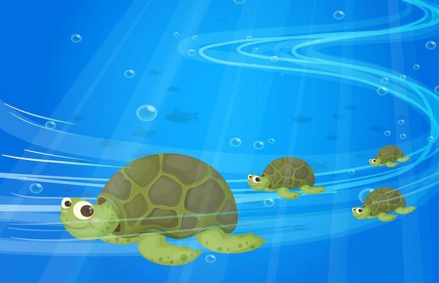 Tortues sous la mer