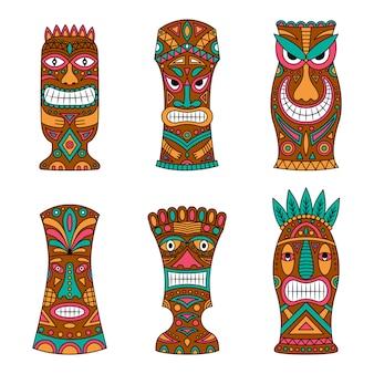 Totem tahitien dessiné à la main.