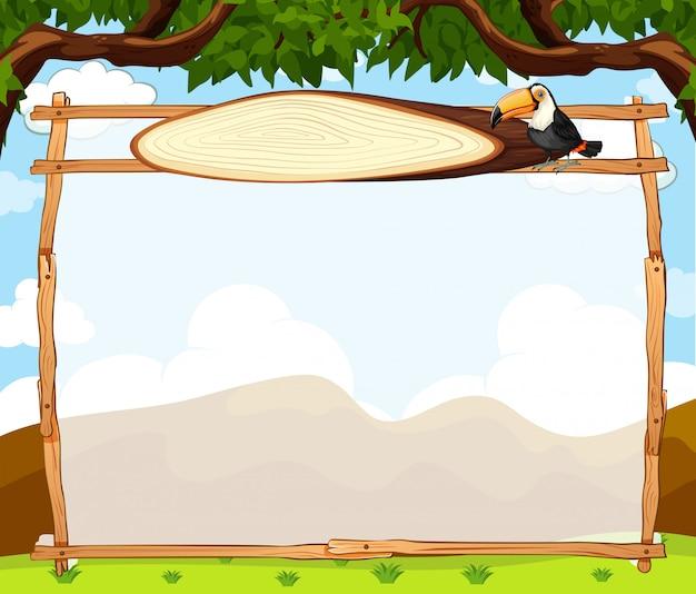 Toucan sur cadre nature avec fond