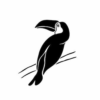 Toucan logo symbole conception pochoir tatouage illustration vectorielle