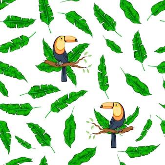 Toucan vert feuilles tropicales