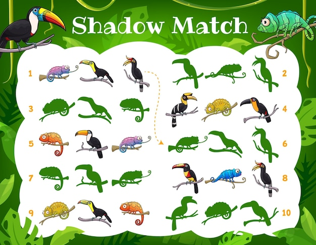 Toucans et caméléons de jeu de match d'ombre d'enfants