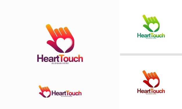 Touch hearth logo template designs vector illustration, charity logo template designs