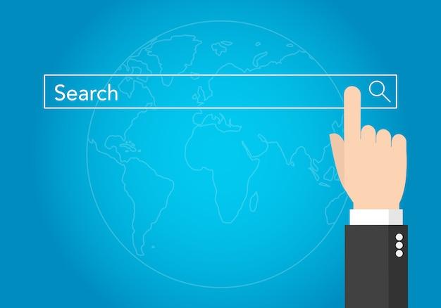 Touche main d'homme d'affaires barre de recherche avec la terre