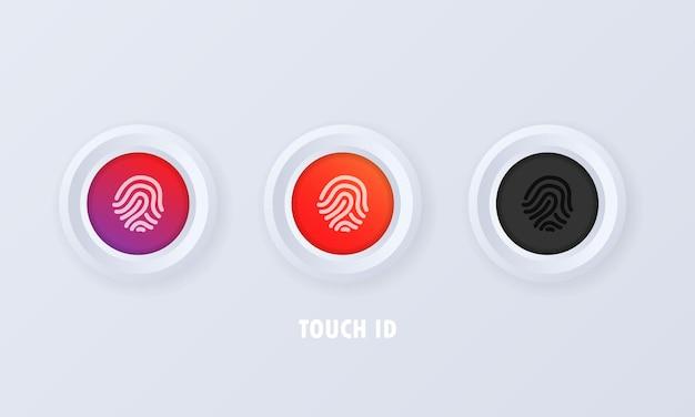 Touchez le bouton id dans le style 3d et les icônes d'empreintes digitales ou de scanners