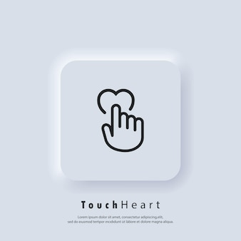 Touchez L'icône Du Cœur. La Main Humaine Pousse Sur L'icône Du Cœur. Symbole D'amour, Signe Pour Le Mariage. Vecteur. Bouton Web De L'interface Utilisateur Blanc Neumorphic Ui Ux. Neumorphisme Vecteur Premium