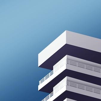 Tour de bâtiment d'architecture minimale avec le ciel dans les tons froids