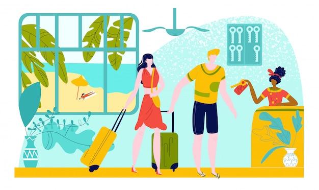 Tour chaud voyage pour des vacances de vacances en été, jeune couple homme et femme au comptoir d'hôtel de la plage de la mer prenant la clé, illustration plate de tourisme.