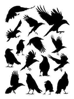 Tour, corbeau, silhouette corbeau