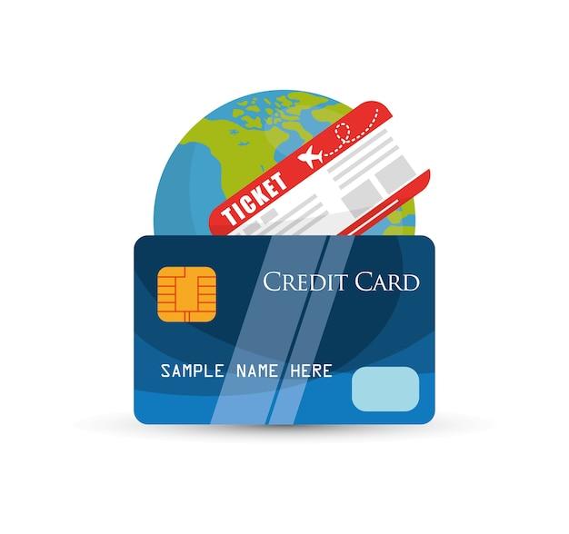 Tour du monde de billet de carte de crédit de voyage