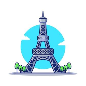Tour eiffel, dessin animé, icône, illustration., célèbre, bâtiment, voyage, icône, concept, isolé. style de bande dessinée plat