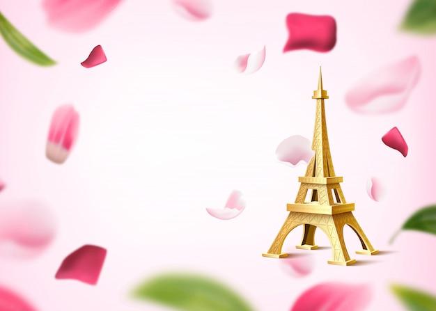 Tour eiffel dorée sur fond de pétales de fleurs roses floues et de feuilles. fond romantique, vintage