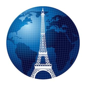 Tour eiffel sur fond de monde, illustration vectorielle