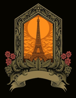 Tour Eiffel Avec Illustration D'ornement Vintage Vecteur Premium