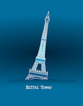 Tour eiffel sur illustration vectorielle fond bleu