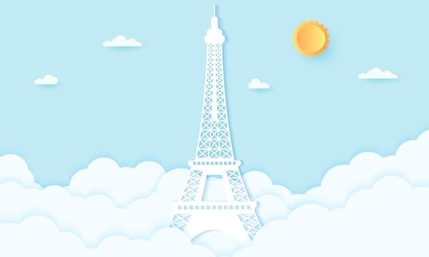 Tour eiffel avec des nuages, style art papier