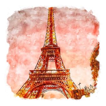 Tour eiffel paris france aquarelle croquis dessinés à la main illustration