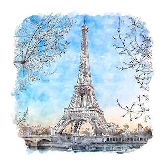 Tour eiffel paris france aquarelle croquis illustration dessinée à la main