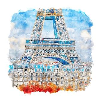 Tour eiffel paris france aquarelle croquis illustration dessinée à la main