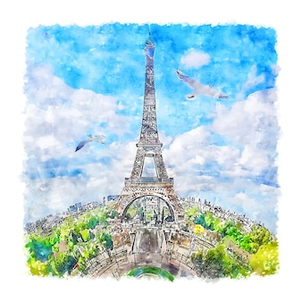Tour Eiffel Paris France Aquarelle Croquis Illustration Dessinée à La Main Vecteur Premium