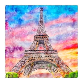 Tour Eiffel Paris France Aquarelle Croquis Illustration Dessinée à La Main Vecteur Premium