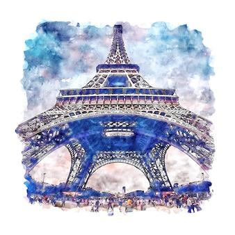 Tour eiffel paris france croquis aquarelle