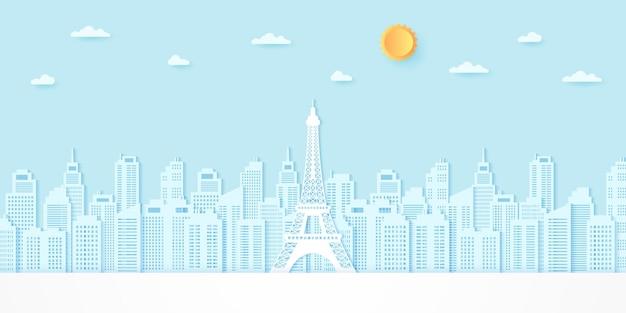 Tour eiffel parmi les bâtiments avec soleil et nuages, style art papier