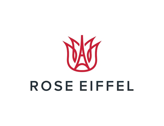 La tour eiffel et la rose décrivent une conception de logo moderne géométrique créative simple et élégante