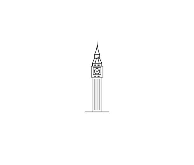 Une tour de l'horloge dessinée à la main, big ben london - contour pour la conception d'illustration vectorielle