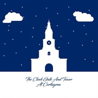 Tour de l'horloge porte silhouette abstraite sur papier bleu fond
