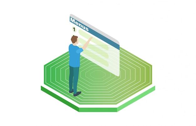 Tour d'illustration vectorielle 3d isométrique et panneaux solaires pour l'énergie alternative
