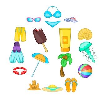 Tour de la mer ensemble d'icônes, style cartoon