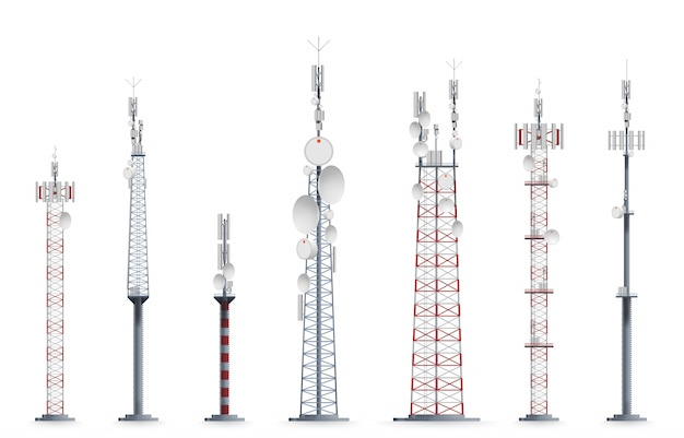 Tour mobile. illustration de construction à tour cellulaire de transmission.