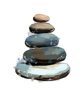 Tour de pierre pierre pyramidale équilibrée à partir d'une éclaboussure de dessin coloré à l'aquarelle réaliste