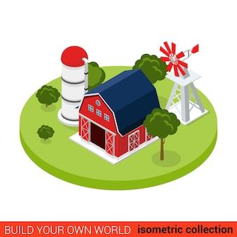 Tour de pompe à eau plat isométrique hangar maison bloc de construction ferme concept infographique stockage d'entrepôt de grange de campagne construisez votre propre collection mondiale d'infographie