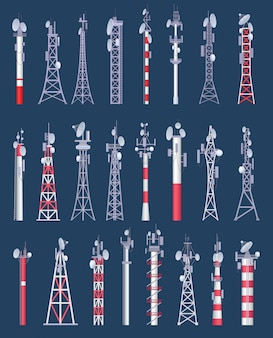 Tour sans fil. tours de communication de radio et de télévision sans fil cellulaire avec antena collection