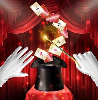 Tour de spectacle magique avec des cartes qui volent un chapeau noir