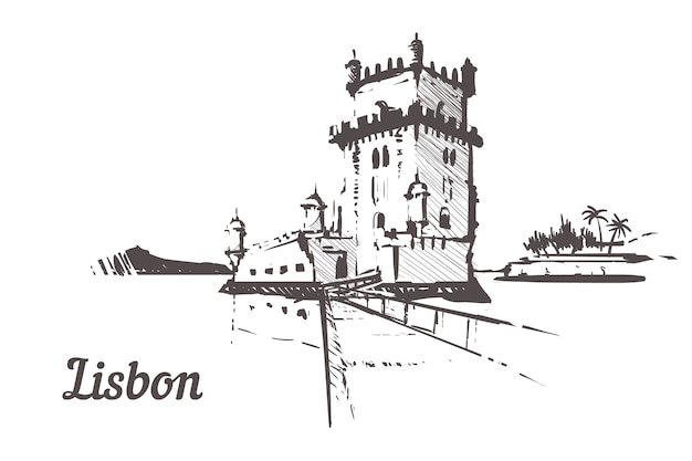 Tour torre de belem dans le paysage de lisbonne