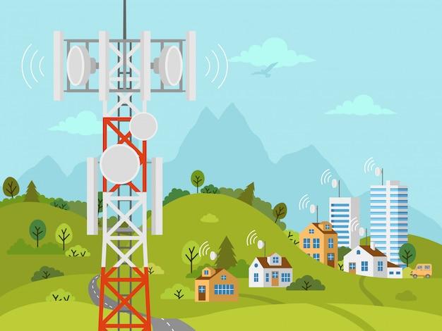 Tour de transmission cellulaire en face du paysage
