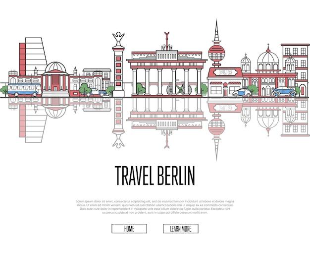 Tour de visite à berlin modèle web dans un style linéaire