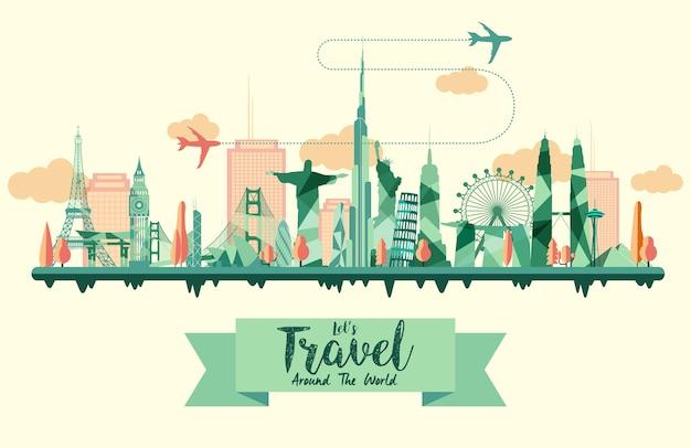 Tour et voyage fond plat design