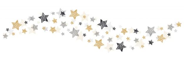 Tourbillon de noël griffonne des étoiles sur fond blanc