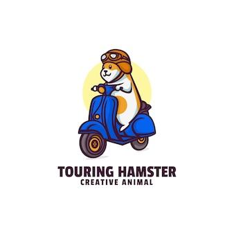 Touring hamster mascot cartoon style logo