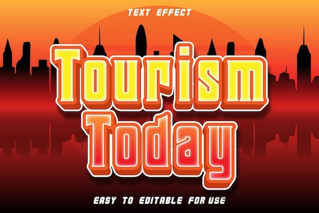 Tourism today effet de texte modifiable en relief dans un style moderne