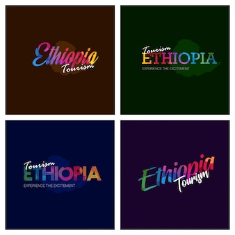 Tourisme en ethiopie typographie logo ensemble de fond