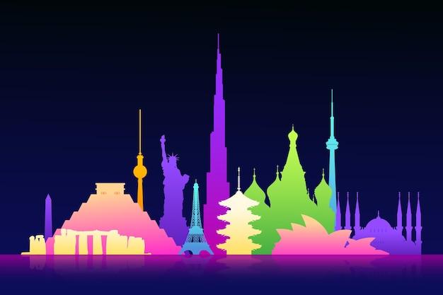 Tourisme d'horizon de monuments colorés