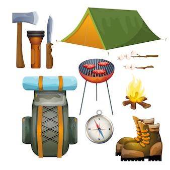 Tourisme randonnée camping plat collection de pictogrammes