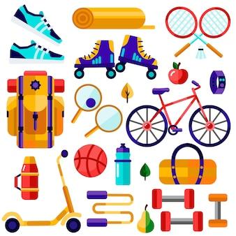 Tourisme, sports, inventaire de remise en forme. illustration plate de mode de vie sain.