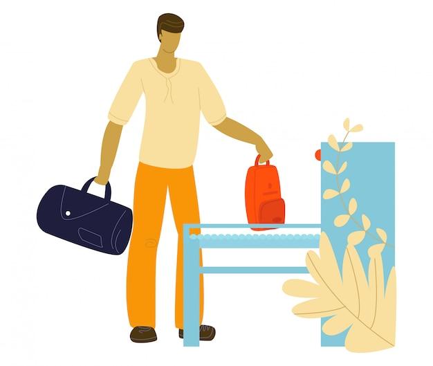 Touriste à l'aéroport avec des bagages voyageant, illustration plate de voyage. homme mettant des valises à bagages sur la planche de déménagement à l'aéroport.