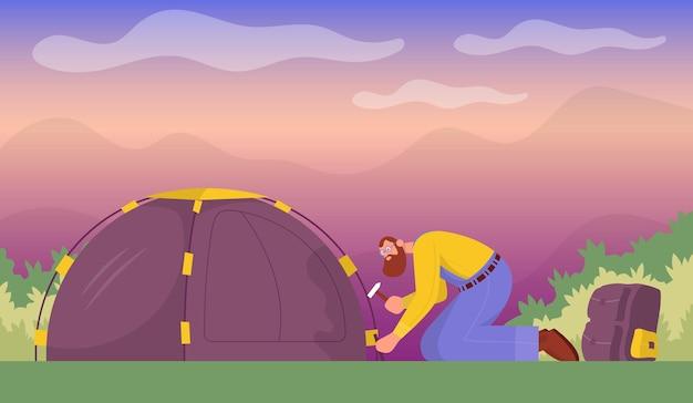 Touriste met en place une tente concept pour la randonnée en plein air vue de côté vecteur plat de dessin animé de couleur